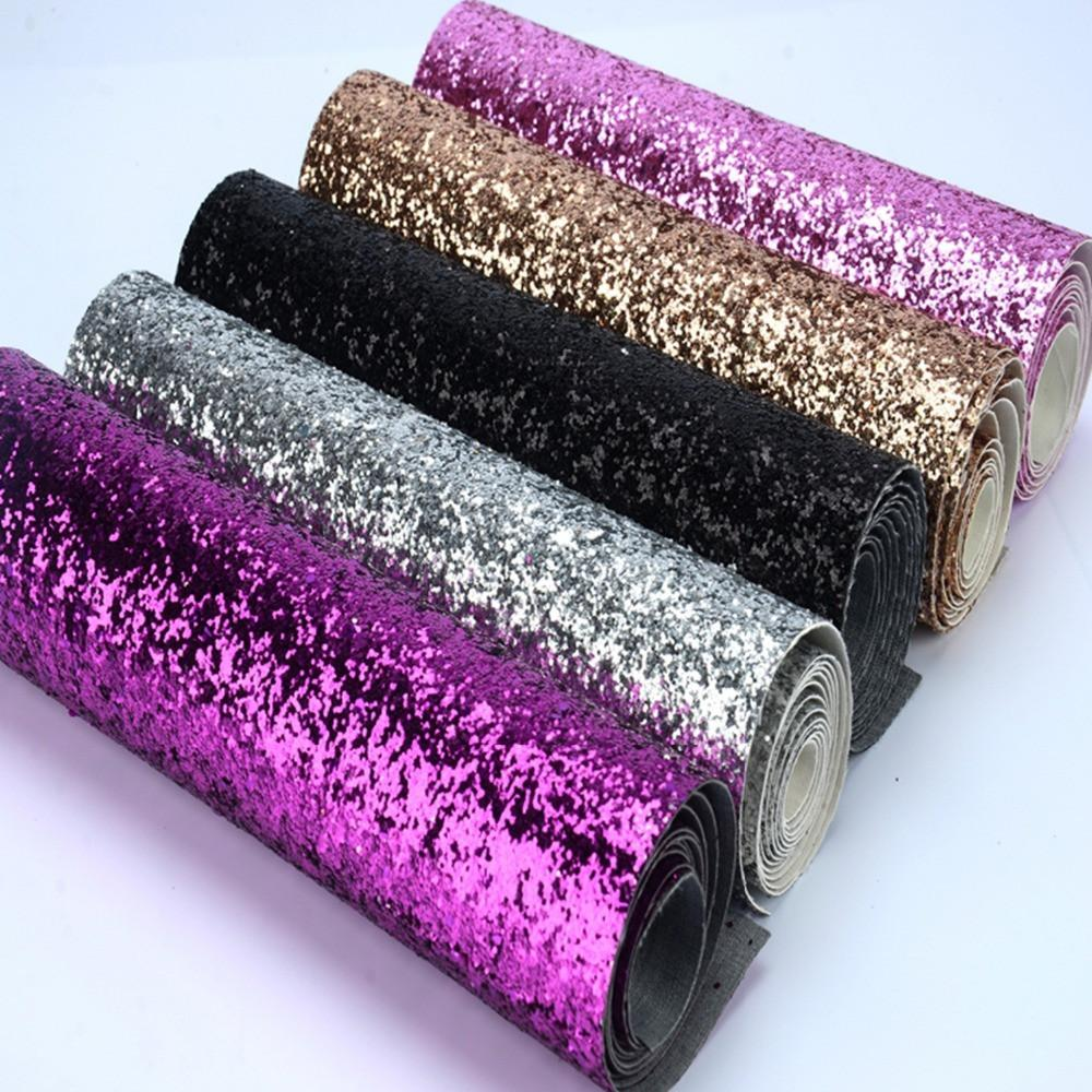 $13.86- 25*138Cm EcoFriendly Chunky Glitter Fabric Colorful Glitter Border Use For Cushionspelmetspillow Decorationglitter Wallpaper