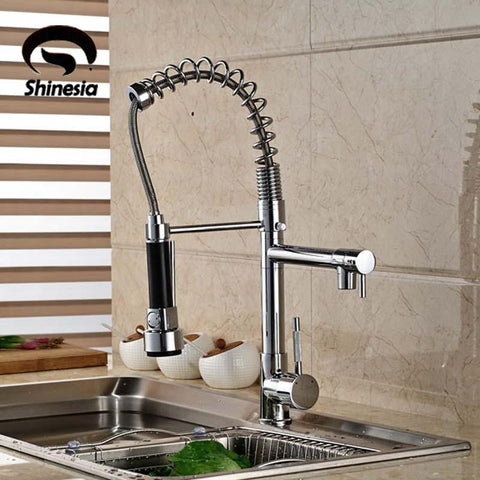 $93.84- Good Quality Chrome Finished Pull Out Spring Kitchen Faucet Swivel Spout Vessel Sink Mixer Tap