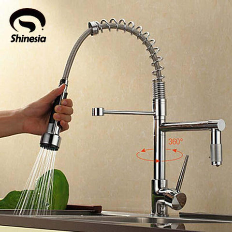 $87.23- NEW Deck Mount Pull Out Kitchen Faucet Two Swivel Spouts Spring Mixer Tap Chrome Finish Single Handle Faucet