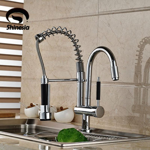 $131.50- and New Double Swivel Spout Spring Kitchen Sink Faucet Hot and Cold Pull Out Kitchen Faucet