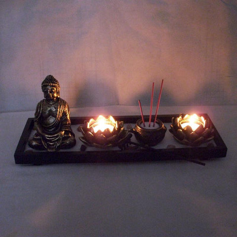 $53.98- Chinese Zen Buddhism Table Buddhist Tealight Incense Holder Candlestick Wood Candle Holder Sand Buddha Religious Vitive Holder