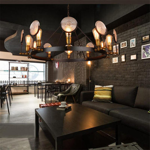 $771.37- Wrought Iron Glass Pendant Lights Industrial Vintage Personality Art Deco Suspension Lamp Bar Cafe Hotel Light Fitting