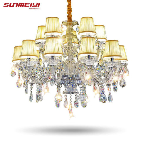 Modern Lustre Crystal Chandeliers 15 Arms Lighting Fixture Crystal Light Lustres De Cristal Chandelier W/ Lampshade