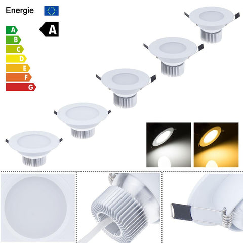 $9.48- Ac85265V 9W 12W 21W Recessed Dimmable Led White Downlight Ceiling Lamp Spot Light Led Indoor Home Down Lighting