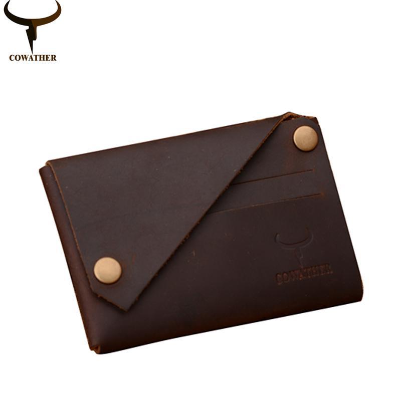 $18.62- Cowather New Arrival Credit Card Holder Crazy Horse Leather Wallet Men Cow Genuine Leather Good Cards Holders 126
