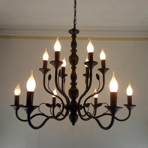 $426.40- Luxury Rustic Wrought Iron Chandelier E14 Candle Black Vintage Antique Home Chandeliers For Living room European lamp