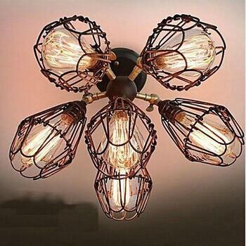 Huang'S Wife Loft Dining Room Chandelier Office Bar Iron Cage Nordic Industrial Wind Bar Retro