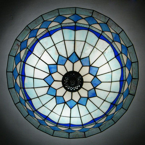 $262.15- Tiffany Glass Ceiling Light European Style Minimalist Restaurant Bedroom Ceiling Lamp Dia40Cm H17Cm