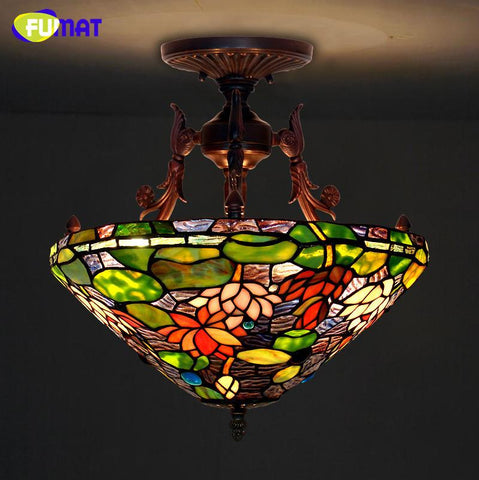 $563.62- Tiffany Ceiling Lamp European Style Lotus Pond Stained Glass Tiffany Elegant Classic Lamp Living Room Hotel Restaurant Lamp