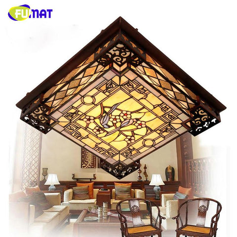 $809.67- Tiffany Ceiling Lamp European Style Led Rectangle Ceiling Lamp Chinese Classic Stained Glass Lamp Living Room Restaurant Lamp