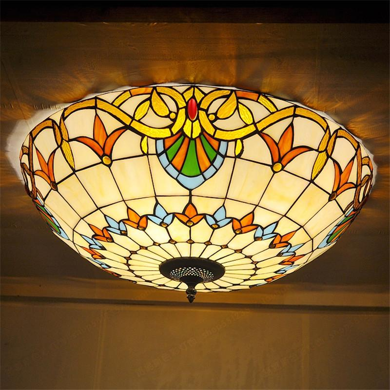$396.20- Tiffany Style Stained Glass Ceiling Lights MediterraneanStyle Bedroom Decorative Lights Dia 50 Cm H 19 Cm