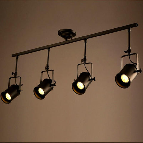 $410.52- Retro Loft Vintage Led Track Light Industrial Ceiling Lamp Bar Clothing Personality Spotlight Light Four Heads