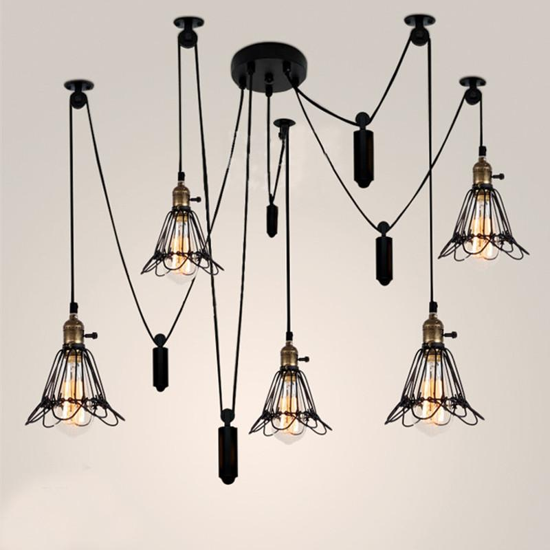 $197.37- Vintage 6 Heads Industrial Ceiling Lamp Edison Light Modern Fashion Diy Design Creative Ceiling Lights Pulley Retro Edison Bulb