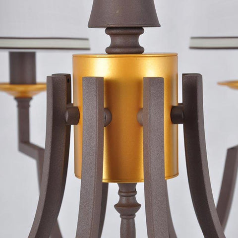 $160.31- Modern Staircase Kitchen Chandeliers Chinese Bedroom Light Home Decor Brown Iron White Fabric Lampshade Lamp E14 110220V