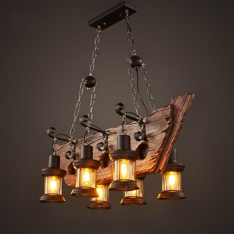 $388.69- Factory Outlet Retro Industrial Pendant Lamp 6 Head Old Boat Wood Light American Country Style Edison Bulb