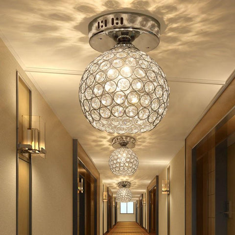 $75.67- Silver K9 Crystal Ceiling Light Aisle Lamp/Corridor /Entrance Light/Hallway / Balcony Lighting/Stair Lamp E14 Base Led Bulb