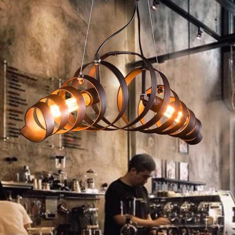 Vintage Pendant Lights Metal Industrial Decor Loft Dining Room Lights Retro Style Kitchen Lamp Hanging Light Fixture Spiral