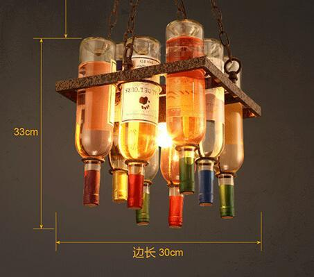 21760 Loft Creative Wine Bottle Pendant Light Restaurant Bar Cafe Lamp Decorative Personality