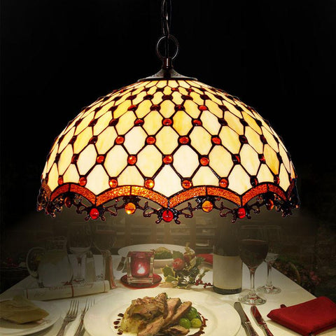 $320.68- European Classic Tiffany Pendant Lamp Brief Art Stained Glass Beads Lights Living Room Restaurant Tiffany Pendant Lights