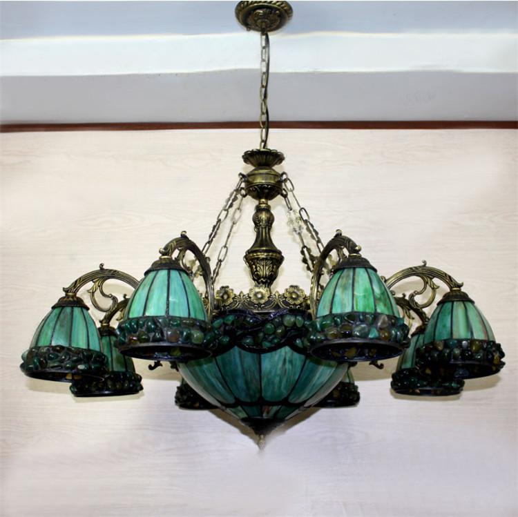 Buy Yellow Green Tiffany Chandelier European Vintage Glass