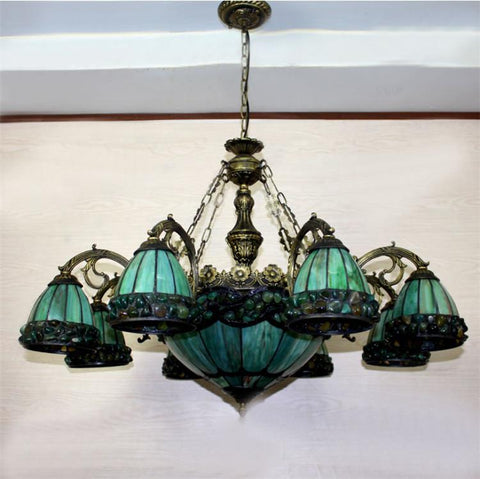 $1183.12- Yellow Green Tiffany Chandelier European Vintage Glass Suspension Light Dining Room Hanging Lamp Pendientes Lustre