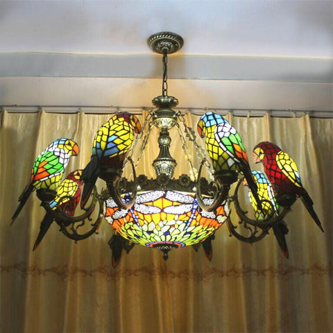 $1007.12- Parrots Dragonfly Shape Tiffany Chandelier European Vintage Artistic Classical Glass Suspension Light Bar Cafe Hanging Lamp