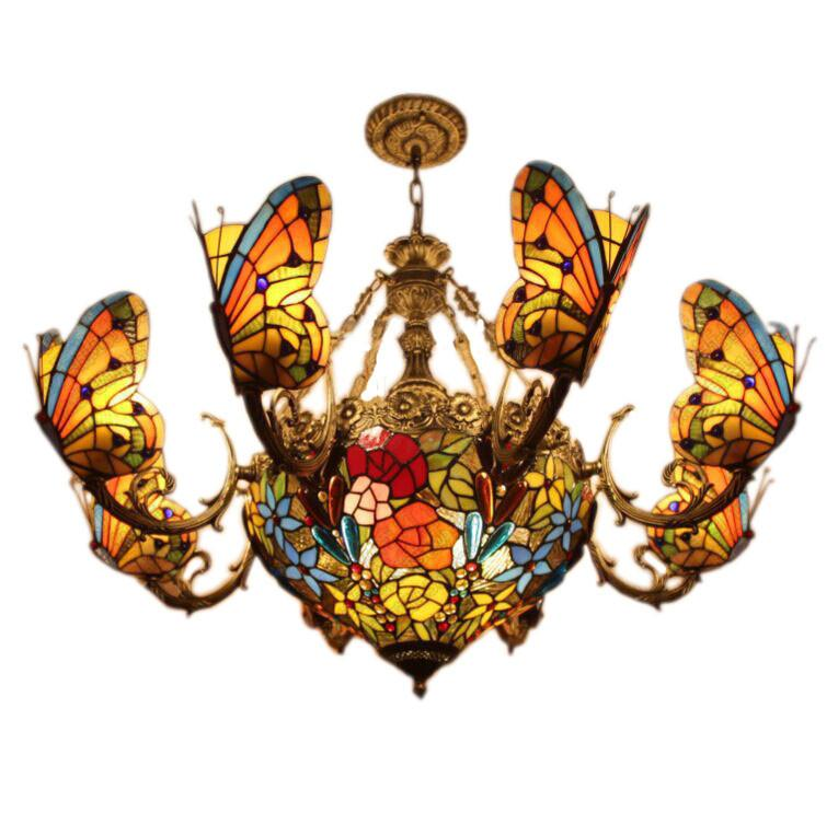 $1612.20- Creative Tiffany Pendant Light Stained Glass Butterfly Lamp European Style Bedroom Hotel Club Bar Drawing Room Pendant Lamp