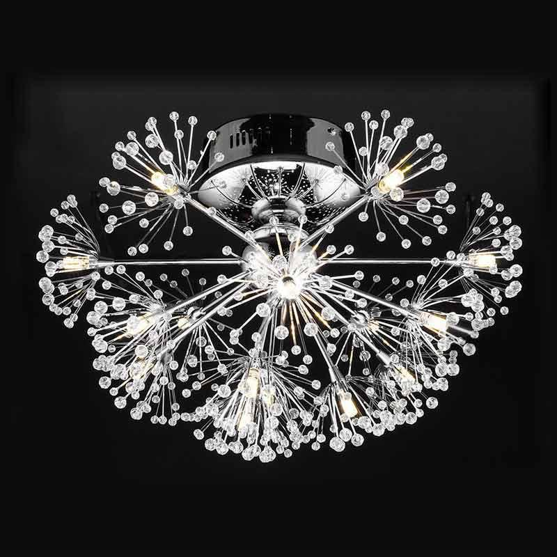 $37.96- Led Lamp Luxury Modern Led Crystal Ceiling Light Fixtures Living Room Dandelion Flower Design Chrome Iron Ceiling Lamp 110240V