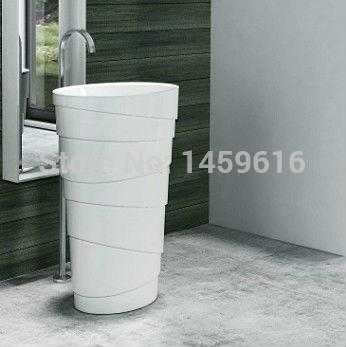 $1794.90- Round Bathroom Stone Resin Pedestal Washbasin Cloakroom Solid Surface Stone standing Vanity Sink W9006
