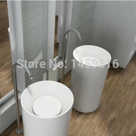 $1535.98- Bathroom Round Pedestal Washbasin Solid Surface Stone Cloakroom standing Vanity Sink W9004