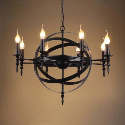 $356.40- Nordic Rh Loft Vintage American Rural Countryside Creative Restaurant Bar Wrought Iron Pendant Circle The Globe Lamp Lighting