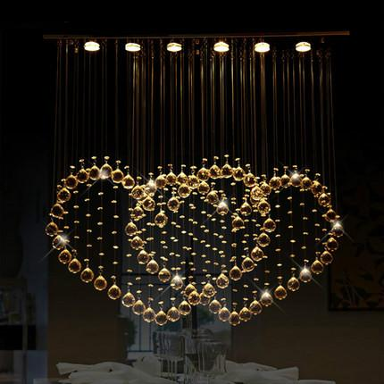 $241.33- Modern Romantic Crystal Chandelier Big Heart Shape Hanging Lamp Luminarias Para Sala Luxury Crystal Decoration Lighting Led