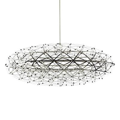 $494.62- Oval Hand Made Pendant Lamp Silver Stainless Steel Firework Ball Hanging Light Restaurant/Hotel/Bar D55/D75Cm/D90Cm Ac 100240V