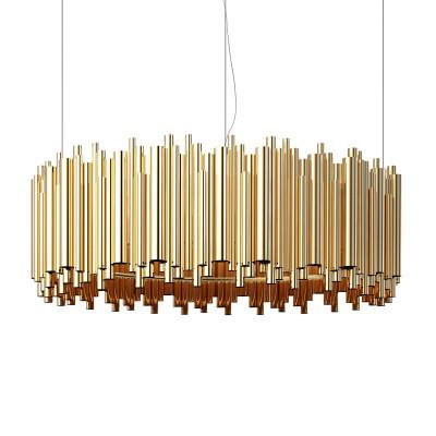 $398.31- Italy Design Brubeck Pendant Lamp Lighting Aluminum Tube Contemporary Suspension Luminaire Gold Fashion Project Lamp