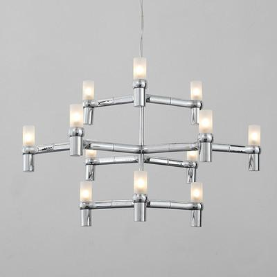$626.84- Black/White/Chrome/Gold Aluminum Crown Major Design Duplex Villa Restaurant Lighting 9/12 Heads 3 Layers Candle Pendant Light