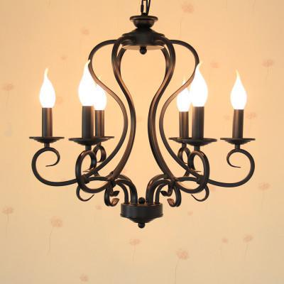 $165.65- Black/White Wrought Iron Chandelier Light Fixture 6Pcs/8Pcs E14 Led Bulb Lamps America Country Mediterranean Sea Style