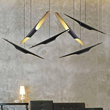 $140.56- Replica Delightfull Coltrane Modern Creative Oblique Pendant Lamp E27X2 Aluminum BlackGold Color Fashion Restaurant Lighting