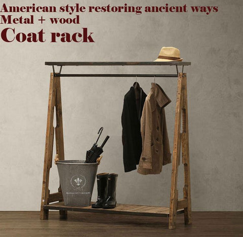 $1293.60- American Pastoral Retro Coat RackNostalgic Style WardrobeClothing Display RackLoftMetalWoodPure Handmade Bedroom Furniture