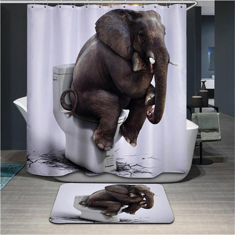 $23.94- High Quality Cartoon Printed Elephent Polyester Shower Curtain Waterproof Home Bathroom Curtains 3D Thicken Shower Curtains