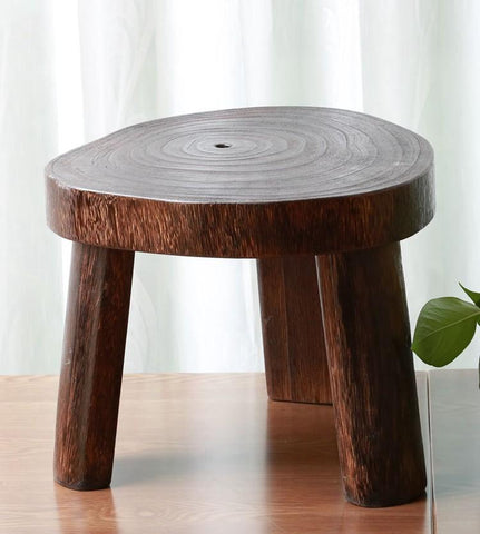 $183.92- Japanese Antique Wooden Round Stool Paulownia Wood Small Asian Traditional Furniture Living Room Portable Low Stand Stool Design