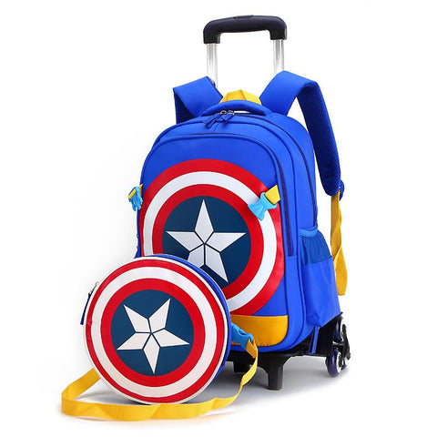 $73.71- Children Trolley/2 6 Wheels Elementary School/Student/Books Bag Backpack/Rucksack Boy Girls Grade/Class 14 W/ Shoulder Bags