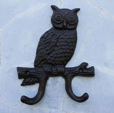 $32.38- Hot Owl HighGrade Cast Iron Double Hook Retro Wall Mounted Dress Hat Coat Hanging Hanger Bathroom Robe Hooks Home Decor