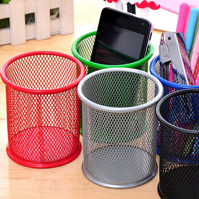 $19.17- 2Pcs/Lot Office&School Supplies Metal Pen Holder Grid Pen Container Student Stationery Desk Accessories Organizer