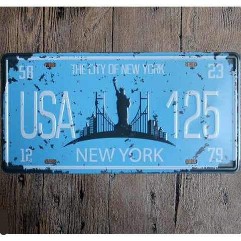 $12.60- The City Of New York Usa 125 Shabby Chic License Plate 15*30 Vintage Home Decor For Bar Cafe Pub Decoration
