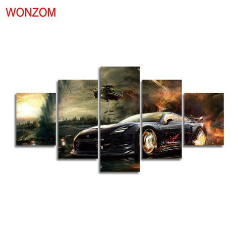 $31.39- Running Sports Car Canvas Painting Hd Wall Art Poster Modern Wall Pictures For Living Room Christmas Cuadros Decoracion Vintage
