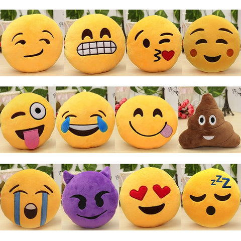 $5.85- 6 Inch Lovely Emoji Smiley Emoticon Pillows Soft Stuffed Plush Cute Cartoon Toy Doll 12 Styles Christmas Gift 2016 Fashion New