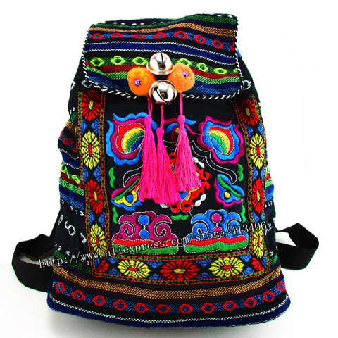 $22.66- Tribal Vintage Hmong Thai Indian Ethnic Embroidery Bohemian Boho Rucksack Boho Hippie Ethnic Bag Backpack Bag L Size Sys170R