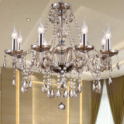 $186.66- Modern Crystal Chandelier Lighting Luxury Cognac Glass Chandeliers Lamp Hanging Light Lustres De Cristal Lamp Hotel Lighting