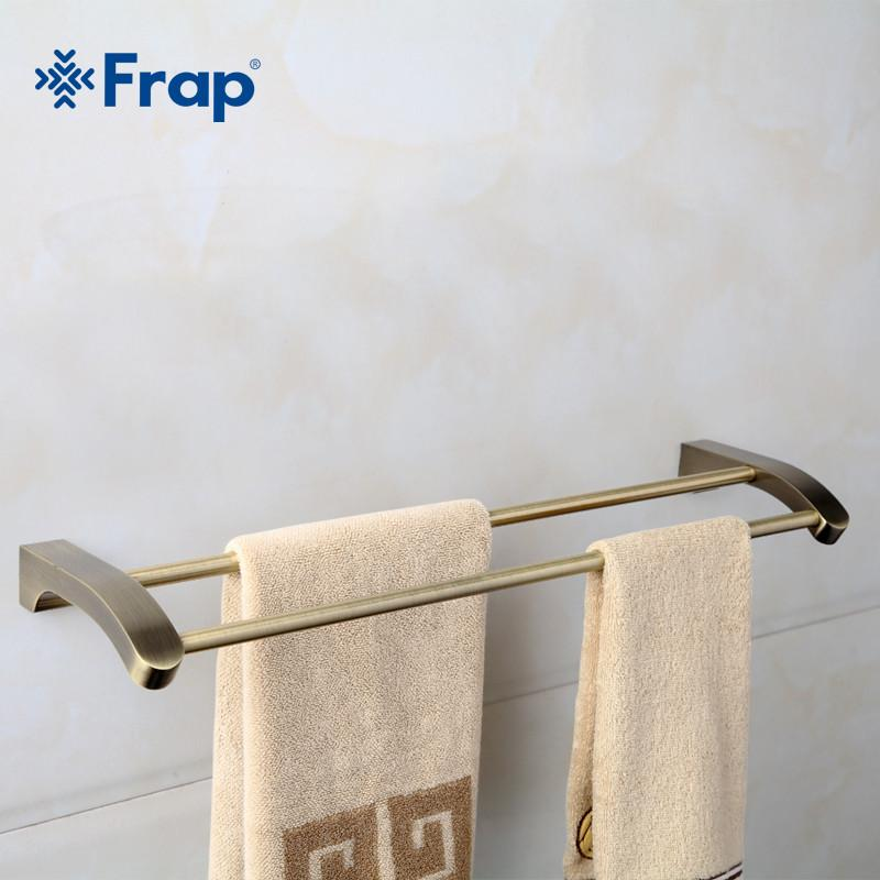 $54.54- Frap Retro Style Wall Mounted Bronze Surface Double Towel Bars Bathroom Towel Hanger Bathroom Accessories Towel Rack F1409