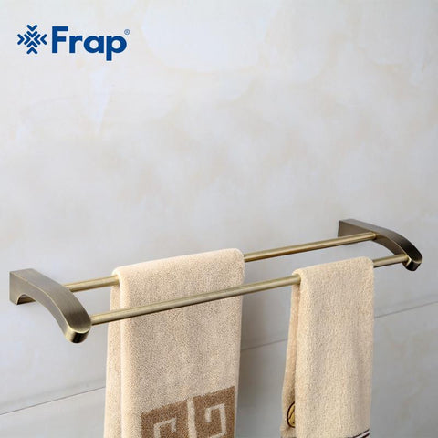 $42.01- Frap Retro Style Wall Mounted Bronze Surface Double Towel Bars Bathroom Towel Hanger Bathroom Accessories Towel Rack F1409